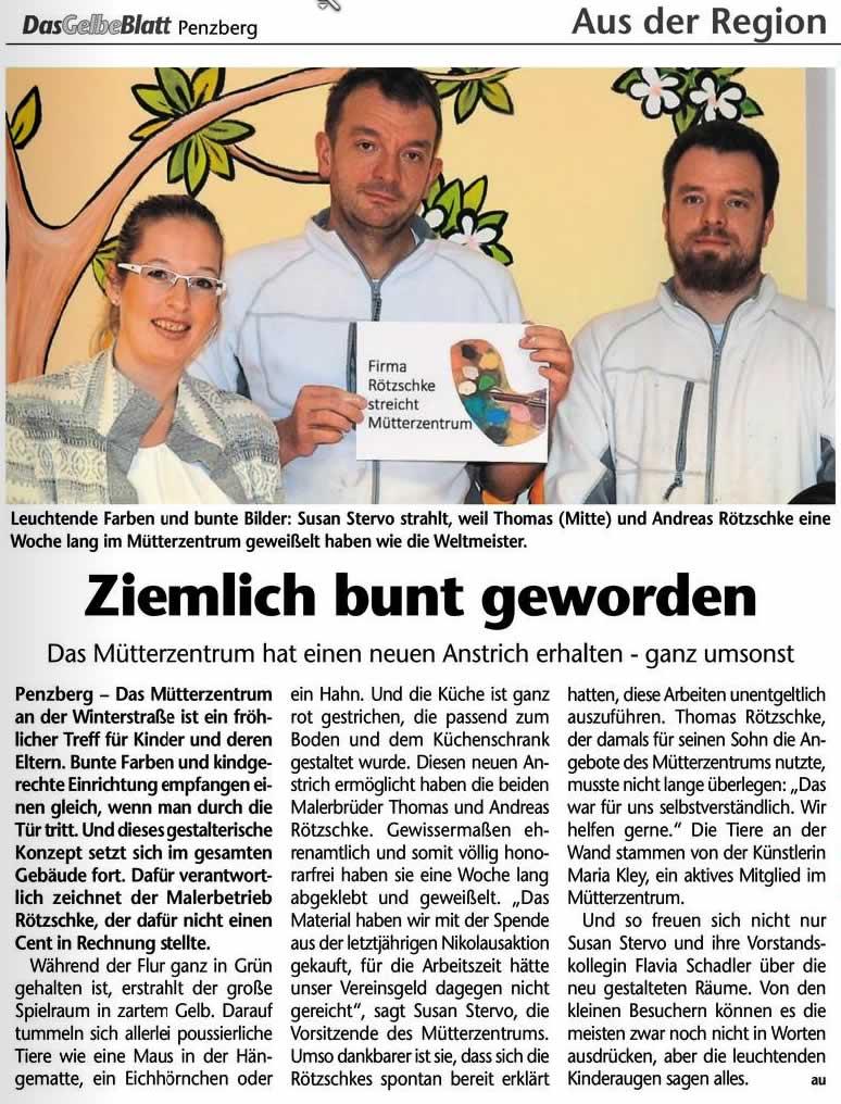 Rötzschke spendet Anstrich für Penzberger Mütterzentrum